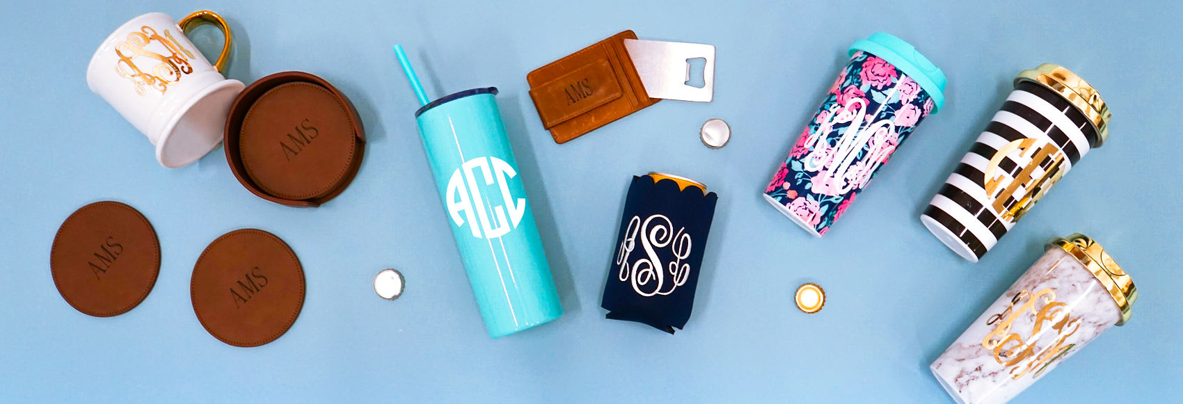 personalized drinkware, personalized coasters, monogrammed coffee mugs