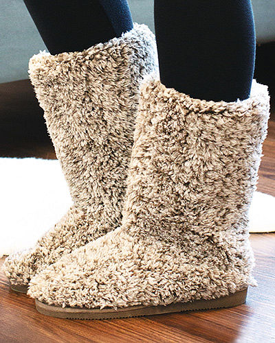Heathered Sherpa Booties