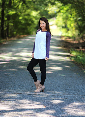 Angels In The Outfield Raglan in Vintage Purple