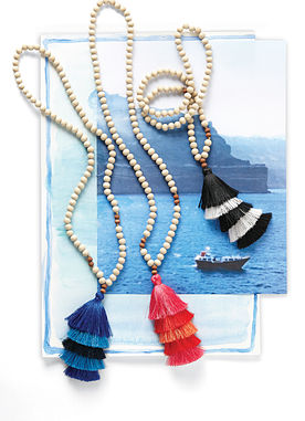 Tiered Tassel Necklace in Blue