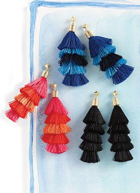 Tiered Tassel Earrings in Blue
