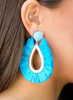 Fan The Flame Earrings in Aqua