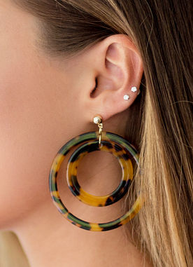 Tortoise Circle Earrings