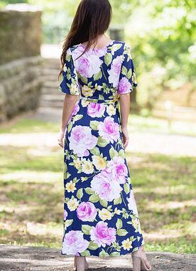 In Full Bloom Maxi Dress in Navy