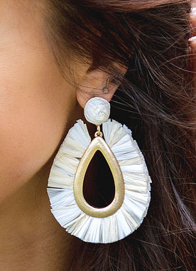 Fan The Flame Earrings in Ivory