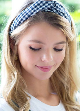 With A Twirl Headband in Navy Gingham