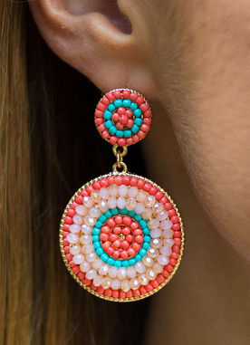 Flashing Lights Earrings in Coral