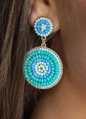 Flashing Lights Earrings in Mint