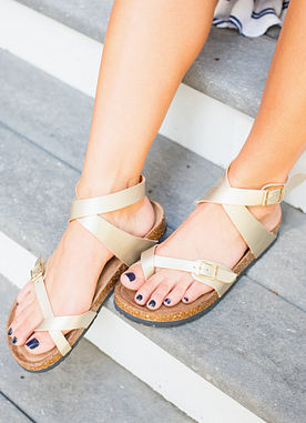 Find Your Love Sandals in Gold