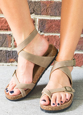 Find Your Love Sandals in Taupe