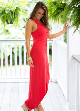 Night Mode Maxi Dress in Red