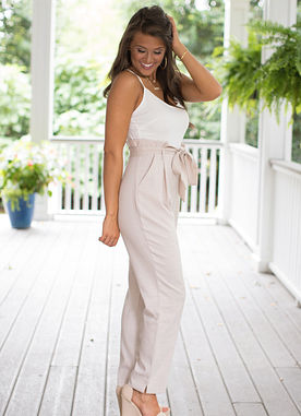 Save My Soul Jumpsuit in Taupe