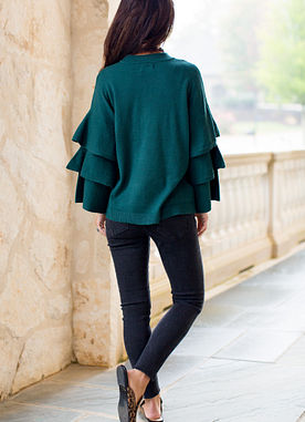 Dawson Ruffle Sweater in Peacock