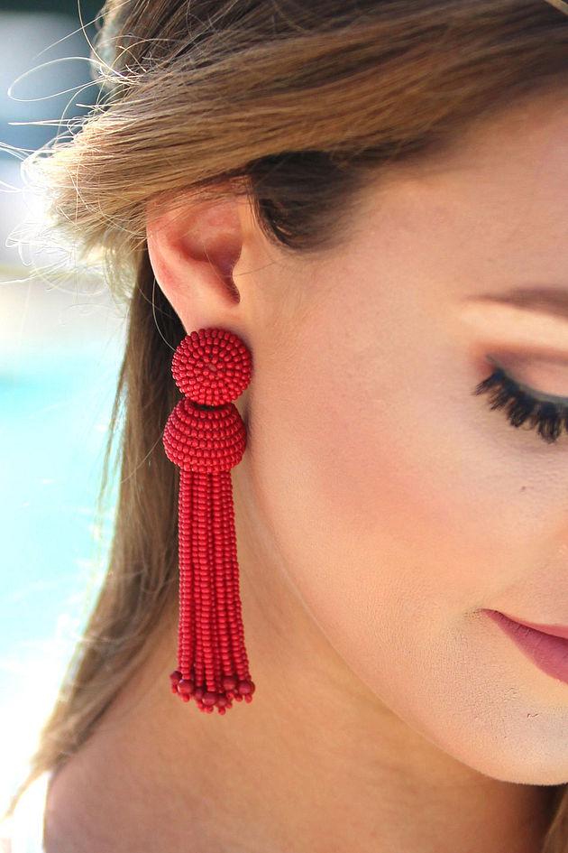 Wait For Love Red Tassel Earrings