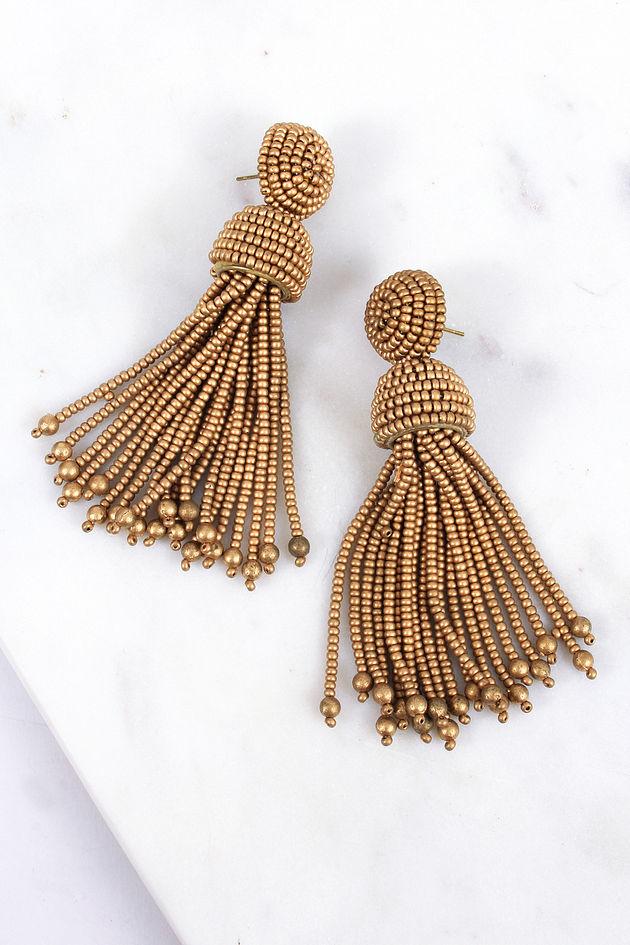 Wait For Love Gold Tassel Earrings