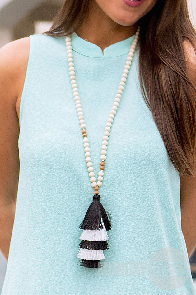 Tiered Tassel Necklace in Black