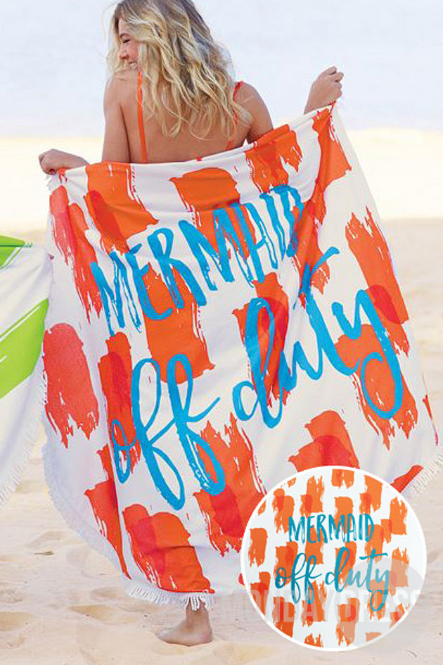 Mermaid Off Duty Beach Towel