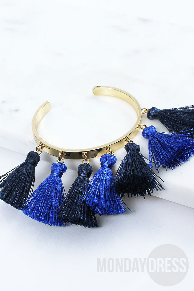 Tassel Bangle in Blue