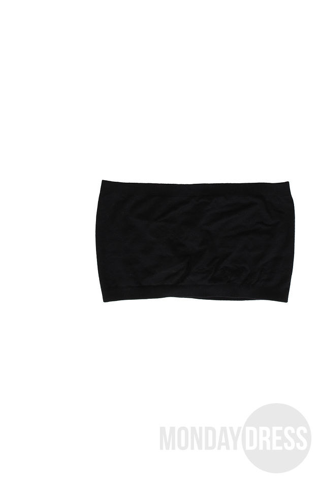 Black Seamless Bandeau Top