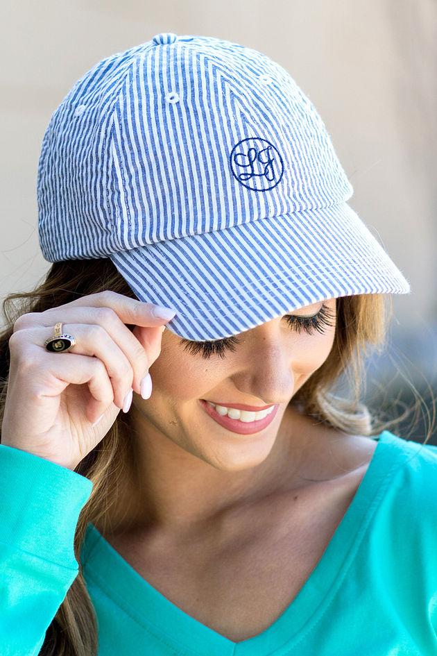 Seersucker Baseball Hat in Navy