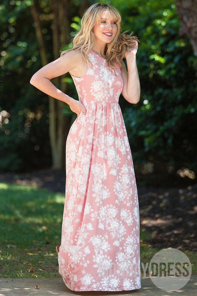 Dipped In Dreams Maxi Dress in Blush