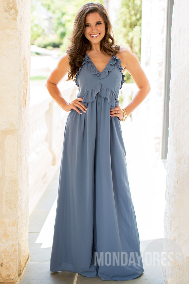 Beyond Words Jumpsuit in Blue