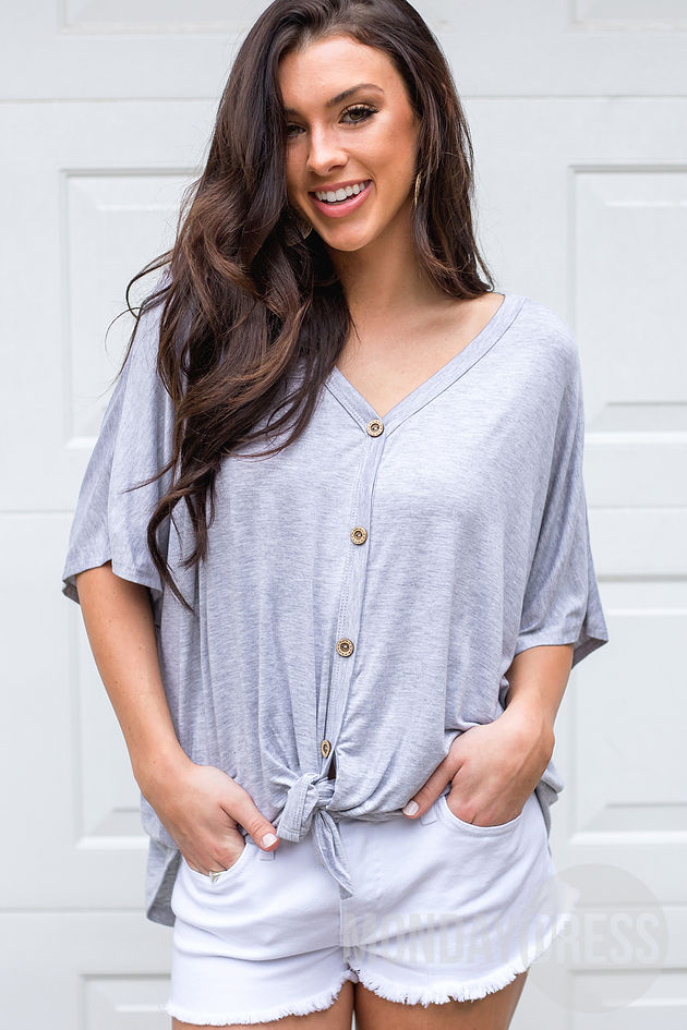 All About it Top in Heather Grey