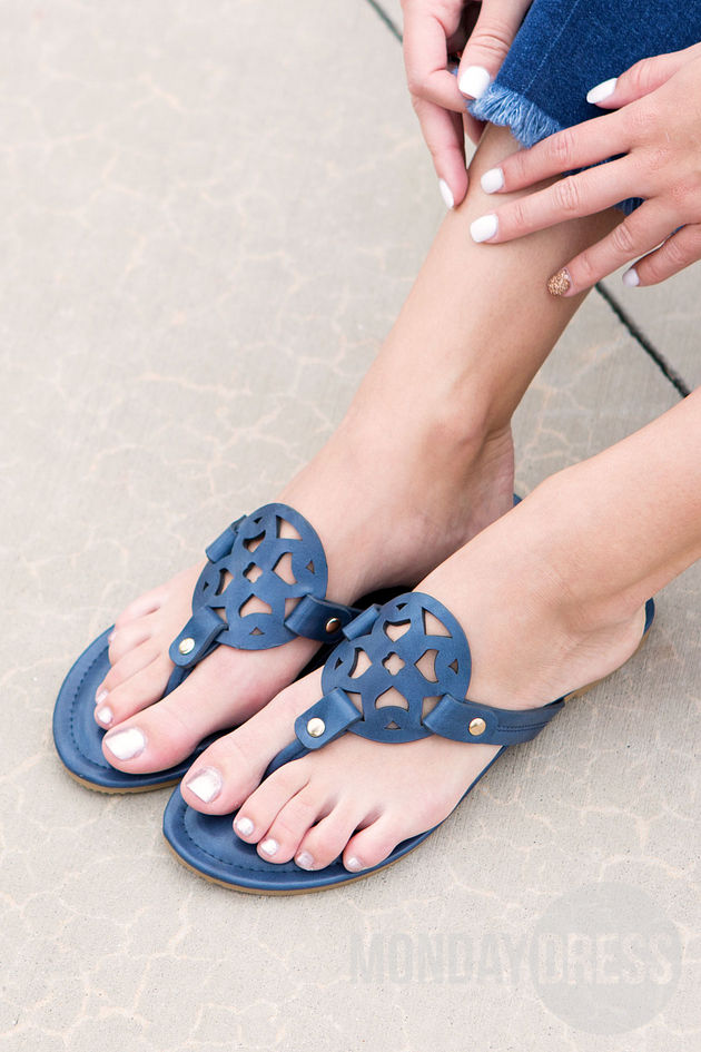 All That's Perfect Sandals in Navy