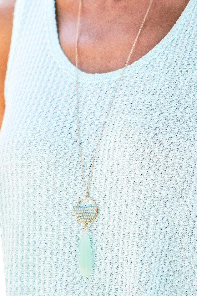 Mint Agate Teardrop Necklace