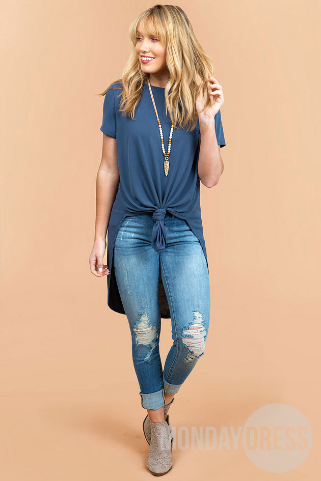 Roll With It Top in Denim Blue