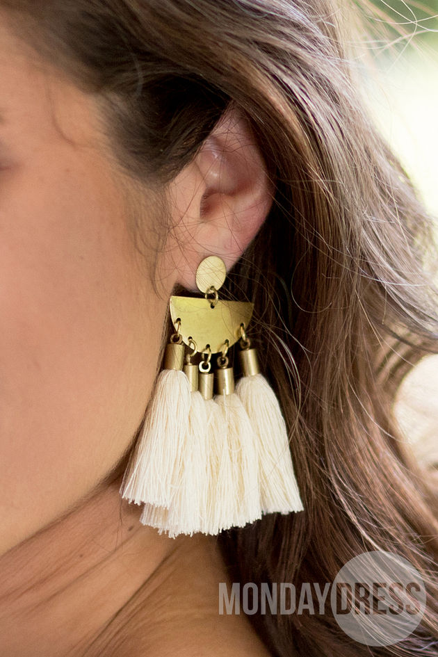 Tassel Earrings in Cream