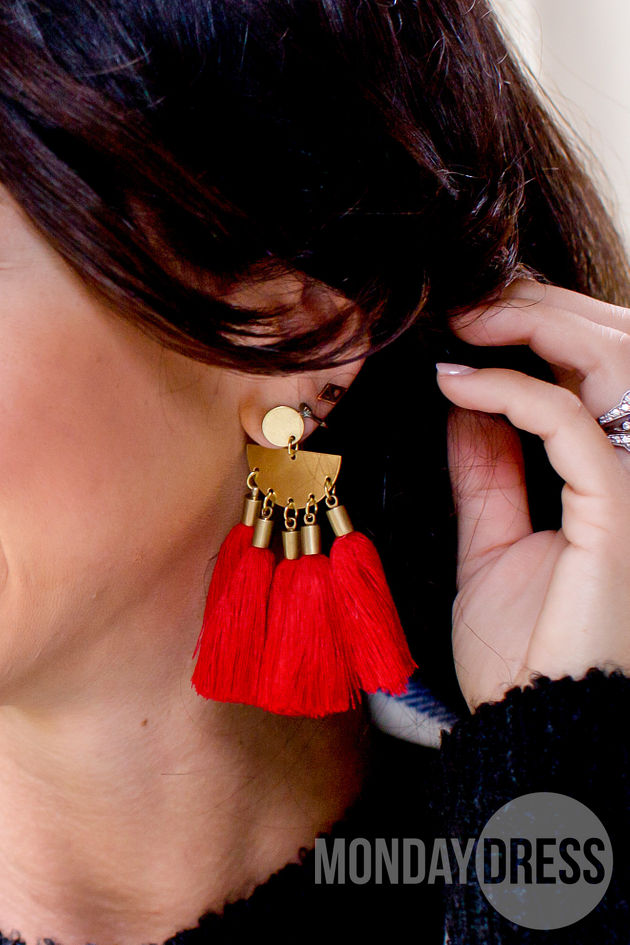 Tassel Earrings in Poinsettia