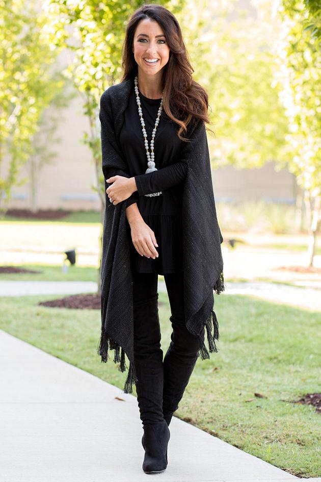 Sommer Sequin Wrap in Black