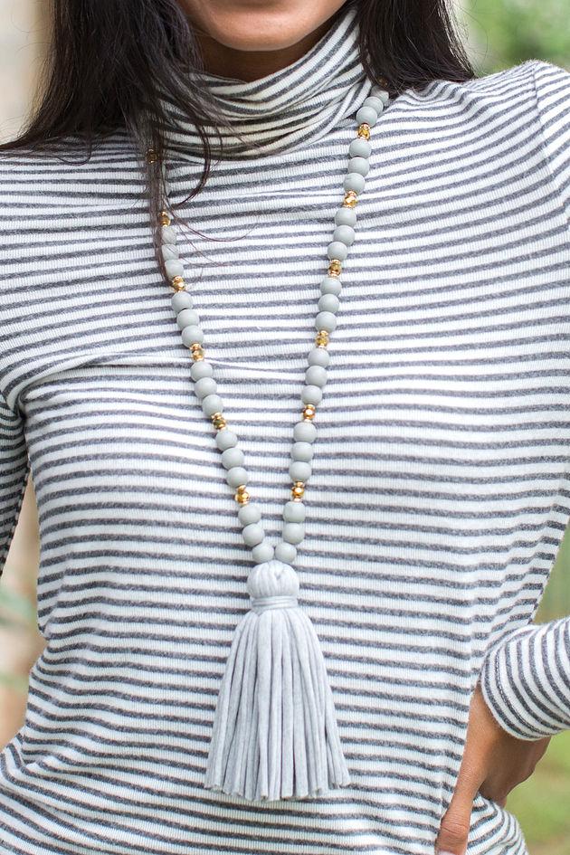Jersey Tassel Necklace in Gray