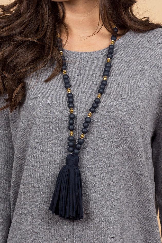Jersey Tassel Necklace in Navy