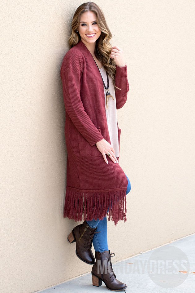 Jagger Ribbed Cardigan in Rust