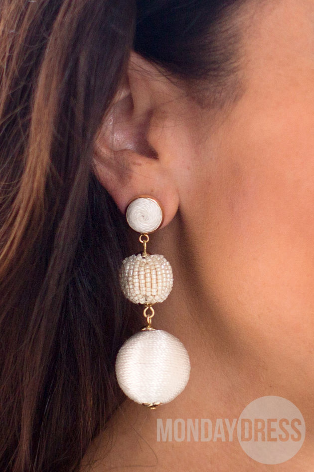 Tiered Ball Drop Earrings in White