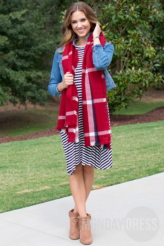 Plaid Blanket Scarf in Red