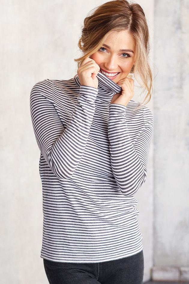 Dixie Turtleneck in Grey Stripes