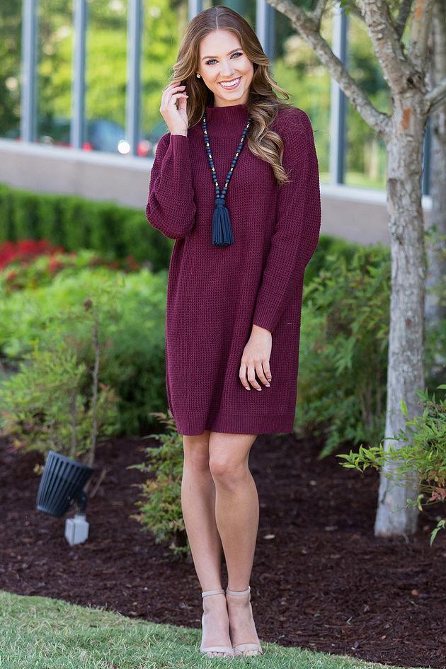 Sparrow Sweater Dress in Wine