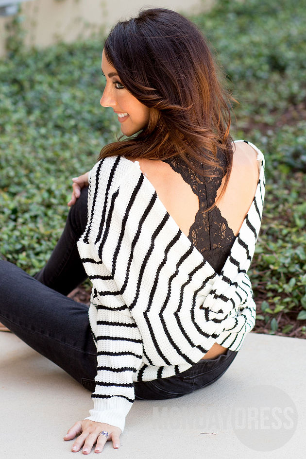 Breathless Sweater in Black and White