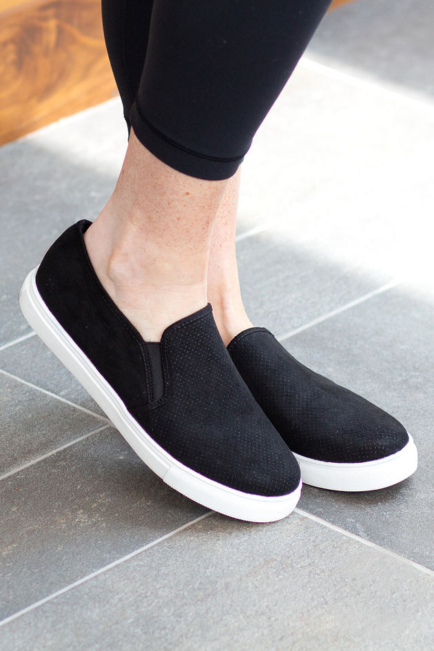 Walk On Out Slip On Sneakers in Black