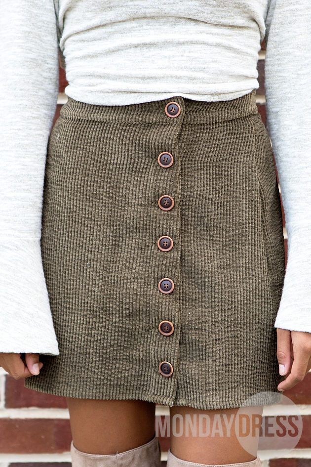 Sunny Afternoon Skirt in Olive