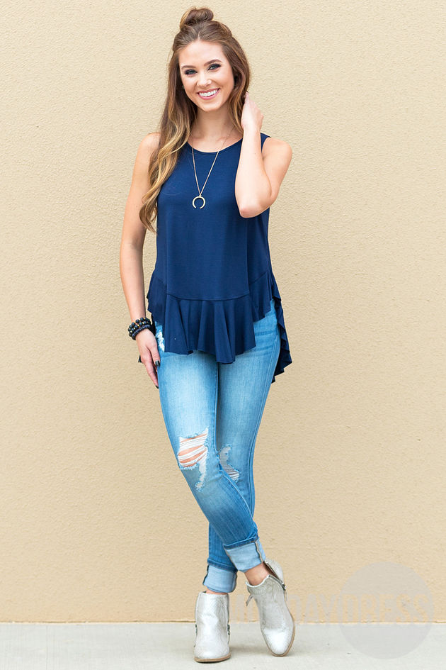 Waterfall Top in Navy