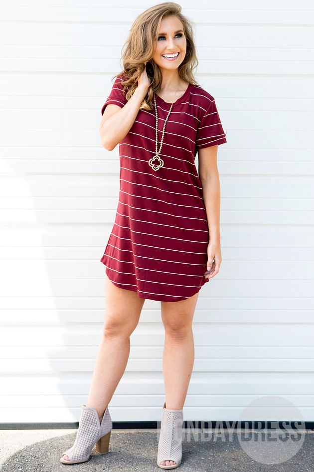 Wherever I Go Dress in Burgundy