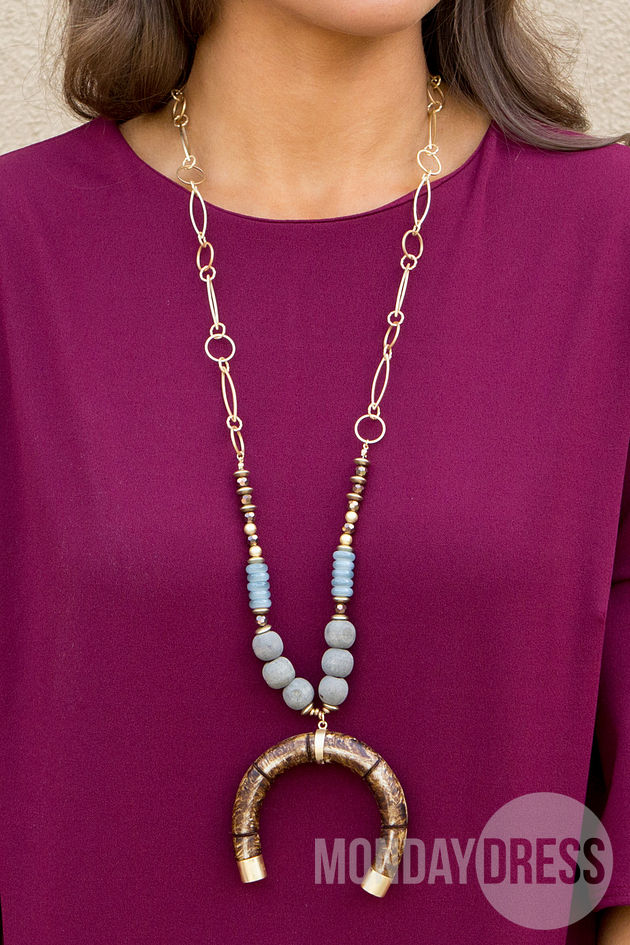 Beaded Crescent Necklace in Brown