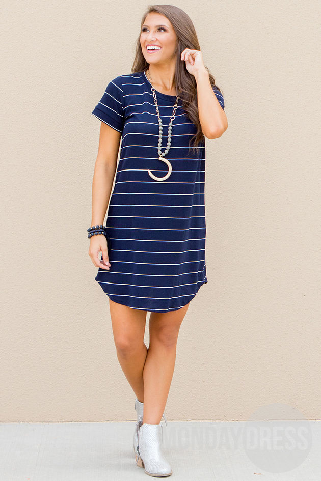Wherever I Go Dress in Navy