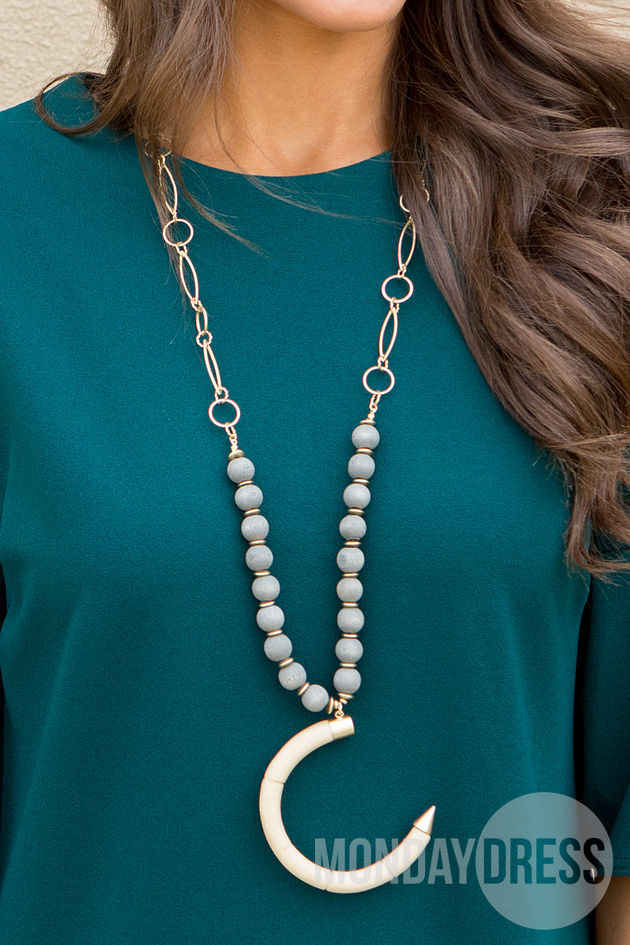 Beaded Crescent Necklace in White
