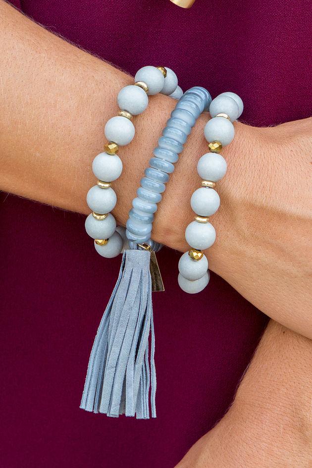 Wooden Tassel Bracelet Set in Grey