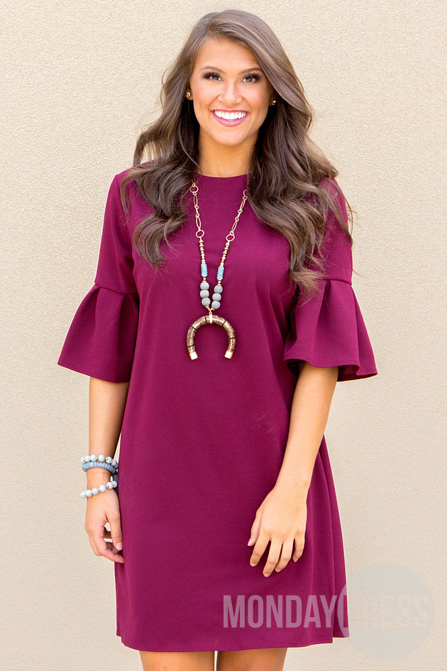 Pretty And Proper Dress in Wine